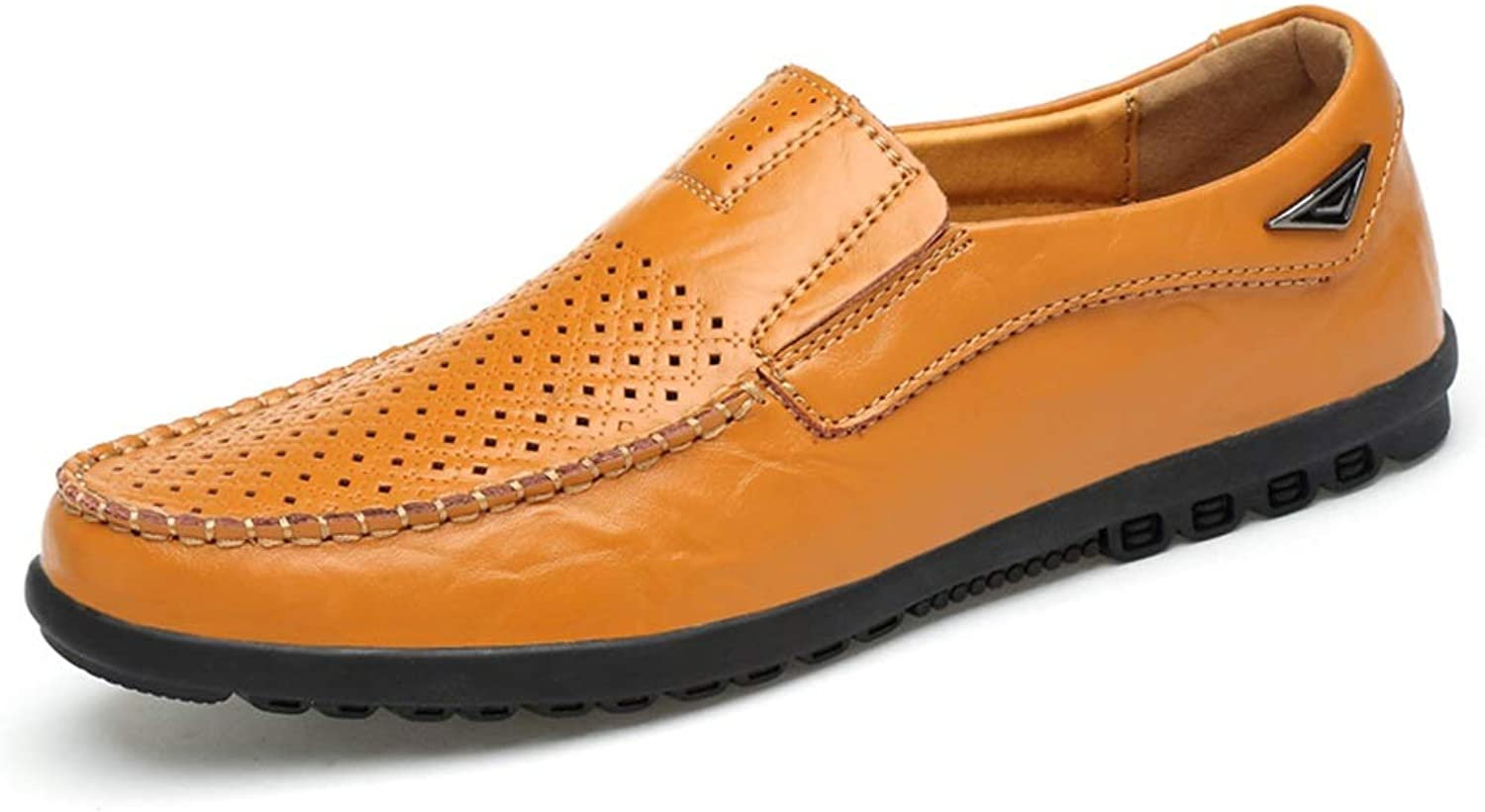 SRY-Fashion shoes Breathable Punctured Handmade Penny Loafers for Men Microfiber Leather Anti-Slip Monotonous Casual shoes Slip-on Round Toe