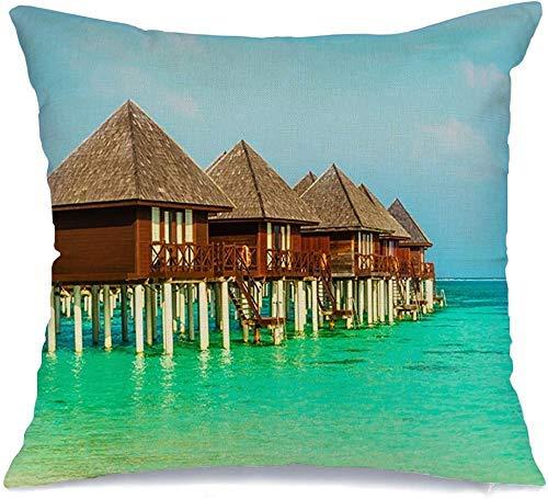 Funda de cojín Balcón azul Hut Fiji casas exóticas paraíso de madera en parques acuáticos Bali Beach hermoso banco Bora Funda de Cojine 45 X 45CM
