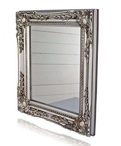 32x27x3cm espejo de pared rectangular, marcos antiguos de época hechos a mano de madera, plata, incl. Asamblea