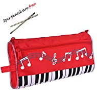 Waterproof Zipper Large Capacity Stationery Pen Pencil Bag For Student Or Business People (Music Red)