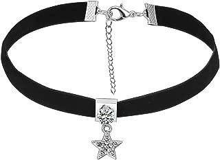 Retro Goth Gothic Elegant Velvet Band Star Charm Choker Collar Necklace
