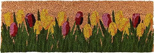 MAISONICA Felpudo de fibra de coco tulipanes jardín entrada al aire libre