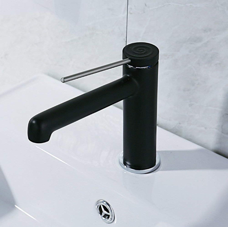 GONGFF Waschtischarmaturen Wasserhahn schwarzer Lack Einhand-Mischbatterie Messing Einlochmontage Warm- und Kaltmischventil Waschtischmischbatterie Waschtischmischer einteilig