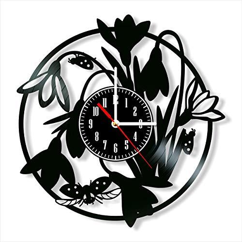Reloj de pared con diseño de gotas de nieve y mariquitas, estilo retro, reloj de pared silencioso, decoración para el hogar, arte único, accesorios especiales para el hogar