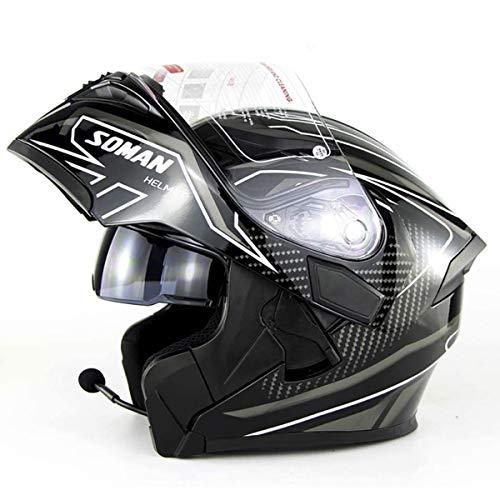 Jay Casco Integral para Motocicleta con Bluetooth Integrado abatible hacia Arriba Delantero anticolisión para Carreras Cascos de Motocicleta Certificado D.O.T Doble Espejo Llamada HD,XL(61~62cm)