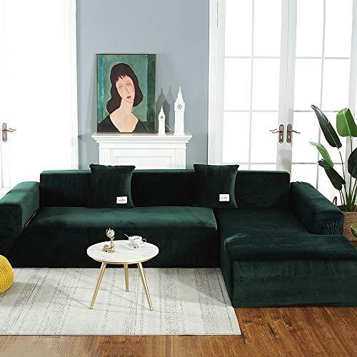 Shujin Velvet Plüsch Sofabezug für L Form Sofa Schonbezug Sofa Stretch Sofa Überwurf Sofabezug Weich Dick Sofahusse