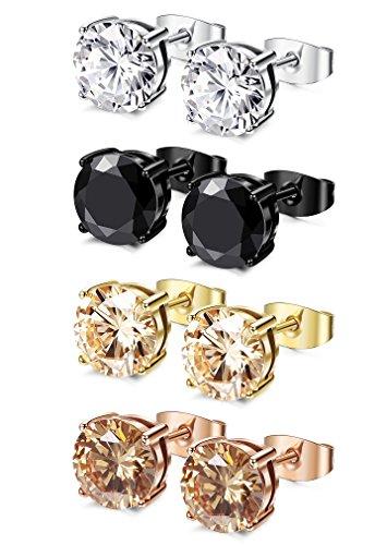 FIBO STEEL 4 pares de pendientes redondos de acero inoxidable para hombres y mujeres, pendientes de piercing de oreja con incrustaciones de circonita cúbica, 3 – 8 mm.