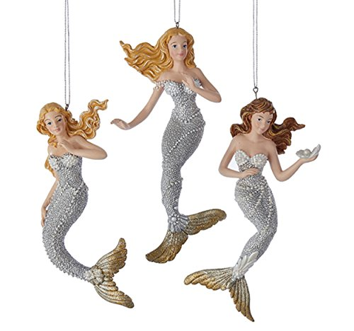 Kurt Adler Silver/Gold Under The Sea Mermaid Ornament 3A