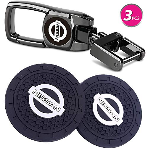 WardWolf Vehicle Auto Cup Holder Insert Coaster Anti Slip Cup Mat and Car Keychain Combo Set Total 3pcs for Nissan Accessories