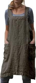 Women Casual Cross Back Sleeveless Apron Overall Tunic Dress