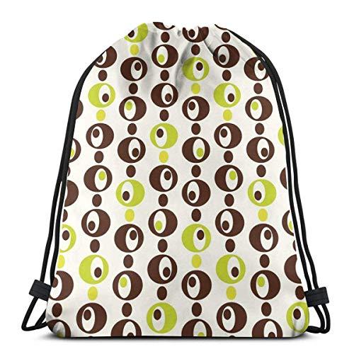 XCNGG Bolsos con cordón, bolsa deportiva para gimnasia, viajes, círculos ornamentales vintage de los años 60 con diseño alucinante de lunares