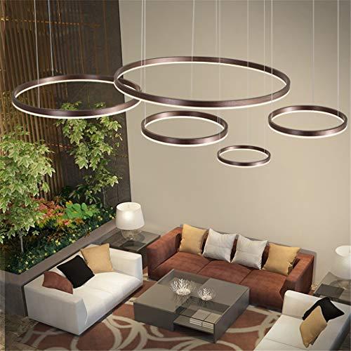 LED Pendelleuchte Esstischlampe Pendellampe Wohnzimmerlampe Dimmbar Mit Fernbedienung Hängelampe Modern Kronleuchter Rund Ring Leuchten Aluminium Acryl Deckenleuchte 130W Braun 5laps 20+40+60+80+100cm