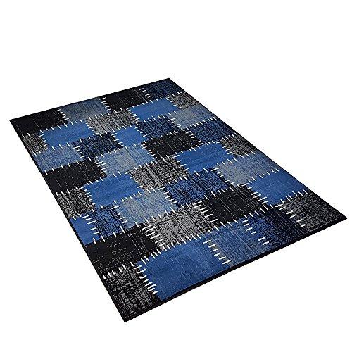 Moderner Design Kurzflor Teppich Flicken Patchwork-Optik meliert, Größe:160x230 cm, Farbe:schwarz/dunkelblau/grau