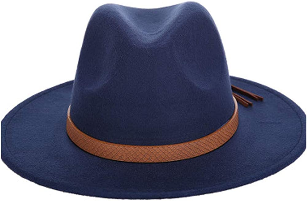 MUMUWU 2019 Top Hat Jazz Hats Fedora Hat Wool Felt Leather Woven Belt Classical Wide-Brimmed Autumn Winter Fedora