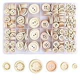 HXC Botones de madera, 320 unidades, conjunto de botones de madera para punto y costura, 2/4 agujeros, hechos a mano, botones de madera natural con caja