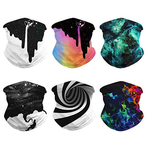 6PCS Unisex Seamless Rave Tie Dye Galaxy Bandanas Neck Gaiter Summer Face Cover Sun UV Protection Sport Headwear Breathable Balaclava Tube Headwrap Women Men Face Scarf for Outdoor Cycling Black White