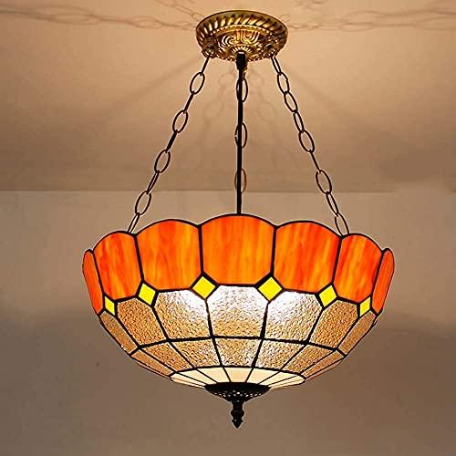 H.Slay Mediterranean 40,6 cm, lámpara de techo colgante de cristal manchado estilo Tiffany, lámpara colgante de 3 luces para dormitorio, estudio, sala de estar, E27, verde (color: verde)