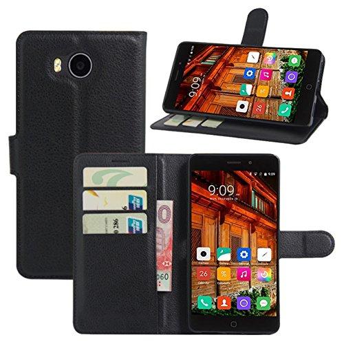 HualuBro Elephone P9000 Lite Hülle, Premium PU Leder Leather Wallet HandyHülle Tasche Schutzhülle Flip Hülle Cover mit Karten Slot für Elephone P9000 Lite Smartphone (Schwarz)