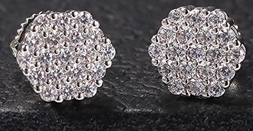 MAFYU Hip-Hop Fashion All-Match 925 Silver 6-Sided Pendientes de circón Micro-incrustados Estilo de Moda Simple Ear Tachones para Hombres y para Mujeres Silver-One Size