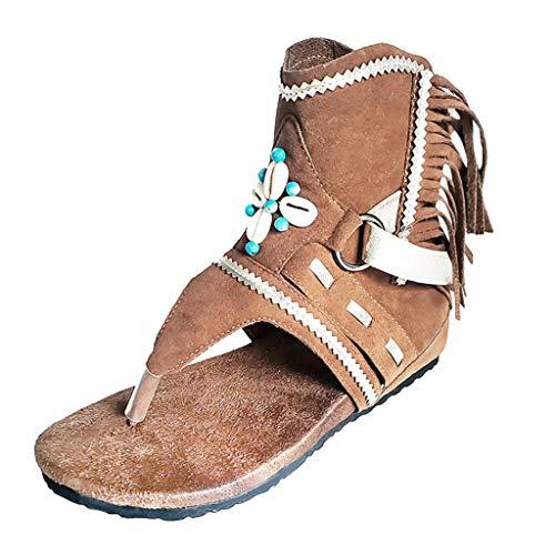 Sandali Fashion Scarpe da Donna Infradito Etnico Frange Pelle Sintetica Classico Infradito Ankle Wrap Infradito Indianini Scamosciati con Frange e Borchie (37, Marrone)