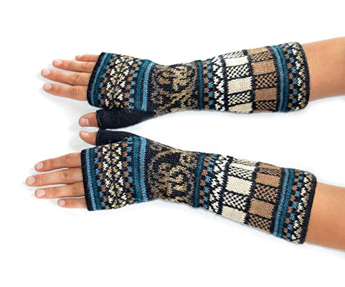 Invisible World Women's Alpaca Wool Fingerless Gloves Texting Typing Navajo