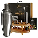 Cocktail Shaker Set Bartender Kit –12 Pc., Stainless Steel Bar Set with Bamboo Stand & Recipe Book– Cocktail Set & Bar Accessories Include Beautiful Gift Box/Storage Case –Cocktail Kit by Hentshy