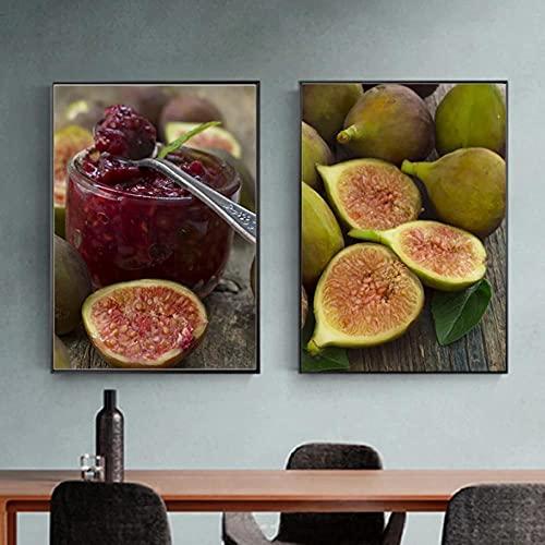 LLXHG Cocina Fruta Higos Frescos Imágenes Pinturas en Lienzo Arte de la Pared Mermelada nórdica Diner Póster Imprimir para la decoración de la Sala de estar-40x60cmx2 Sin Marco