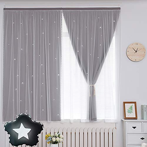 Short Curtains for Teen Girls Bedroom Window Grey Star Cutout Blackout Curtains Double Layer Room Darkening Drapes Gray Nursery Thermal Curtain 1 Panel with Self-Adhesive Tape W27 x 39 Inch Length