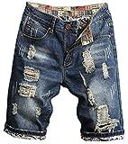 Betusline Men's Ripped Shorts, Destroyed Distressed Ripped Denim Short Pants Short Jeans Shorts for Men, 3# Dark Blue, US 36