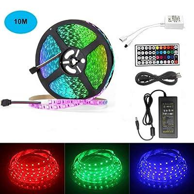 AveyLum 32.8ft LED Strip Light RGB Non Waterproof 10M 5050 SMD 600 LEDs Full Kit