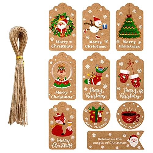 50 Etiquetas, Etiquetas de Regalo de Papel Kraft de Navidad con 50 Cuerdas de Yute Gratis, Listas de empaque de Regalo para Fiesta de cumpleaños, Boda, Navidad, día de acción de g