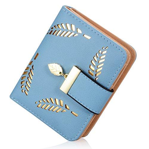 Women's Short Leather Card Holder Purse Zipper Buckle Elegant Clutch Wallet (Short Black) (Blue)