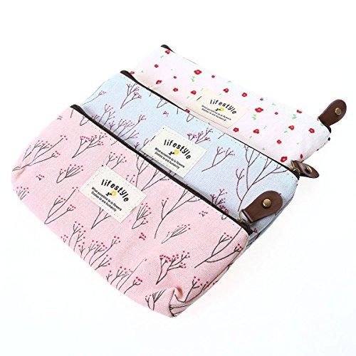 Frcolor 3 Pcs Sac à sacs à main portable Sac à fleurs pour crayons à fleurs Stylo à maquillage cosmétique