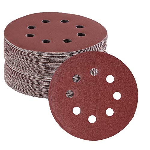 Bates- Sanding Discs 5 Inch 8 Hole, 30 Pack, Assorted Grits 40 80 120 220 320 600, Sanding Discs, Sanding Pads, Hook and Loop Sanding Disc, 8 Hole Sanding Discs, Round Sandpaper Discs, 5 inch Sanding
