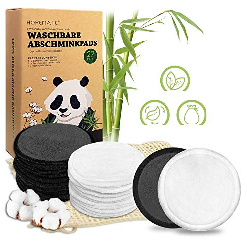 Lingette Demaquillante Lavable 22 Pcs Coton Demaquillant Reutilisable, 2 Couleurs Double Épaisseur Tampons Démaquillants en bio Bambou et Coton avec Sac à Linge, Boîte D'emballage Biodégradable