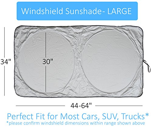 Car Sun Shade SUV Car Size Chart with Your Vehicle Universal Quality-210T Keep Vehicle Accessories Cool UV Sun and Heat Reflector (Large)