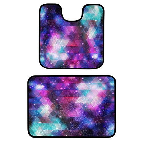 Dallonan Juego de 2 alfombrillas de baño para baño con diseño de galaxia, colores abstractos, suaves, antideslizantes, absorbentes, en forma de U, para bañera, ducha y baño