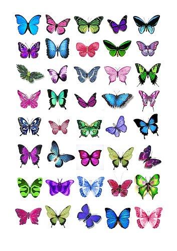 Cakeshop 40 x Essbare Bunte Schmetterlingskuchen Topper (Tortenaufleger, Bedruckte Oblaten, Oblatenaufleger)
