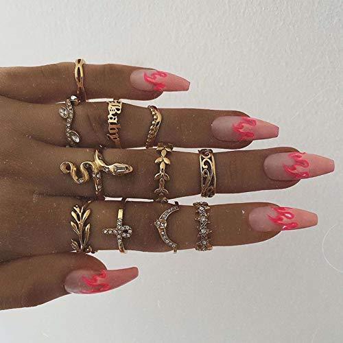 Mayelia Juego de anillos bohemios de serpiente dorados, anillos de cristal, anillos de estrella, anillos de dedo midi para mujeres y niñas (paquete de 11)
