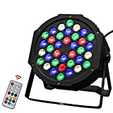 Par Lights with 36 Upgrade LED, RGBW Colored Stage Lighting Controlled by Remoter and DMX, Sound Activated Uplights indoor for Festival Party, DJ Disco, Wedding (36LEDs 1 PACK)