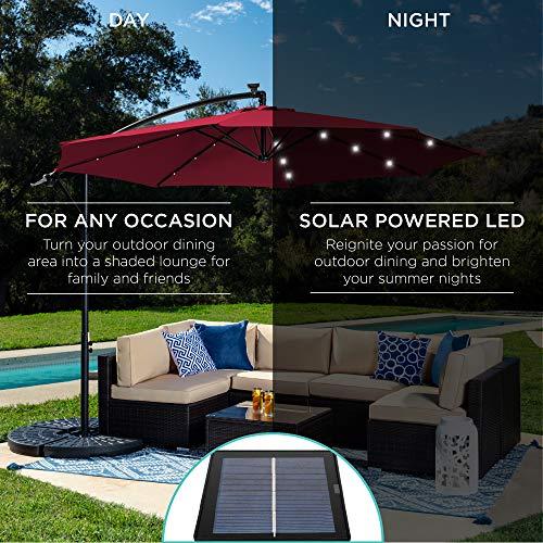 Best Choice Products 10ft Solar LED Offset Hanging Outdoor Market Patio Umbrella w/Easy Tilt Adjustment - Burgundy