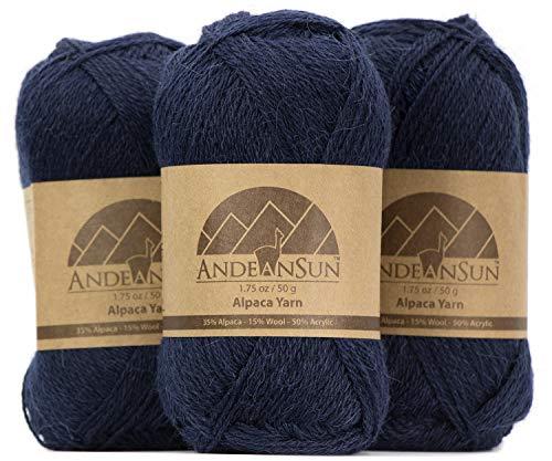 (Set of 3) Alpaca Yarn Blend UMAYO Fingering #2 (5.29 Ounces/150 Grams Total) Lovely and Soft to Enjoy Knitting - Crocheting - Weaving (Dark Navy)