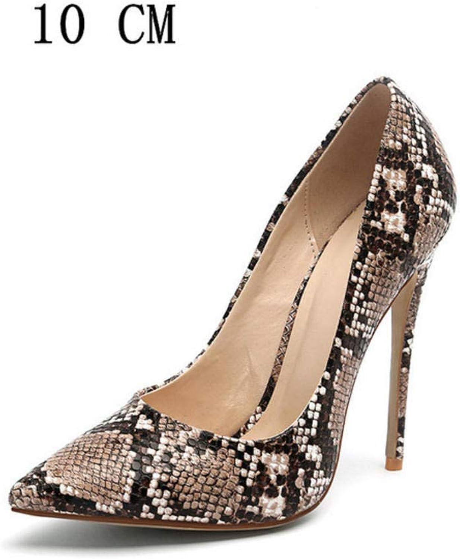Hysxm 10Cm braun Snakeskin Frau High Heels Schuhe Damen Ferse Schuhe Braut Hochzeit Schwarz Wei Party Plus Größe Pumps Party Stiletto