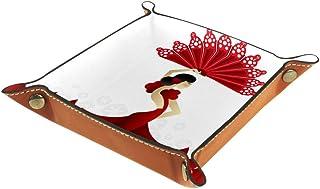 FCZ Danseuse espagnole Rouge avec éventail en Cuir pour Rangement de Bijoux, clés, Portefeuille, pièces de Monnaie