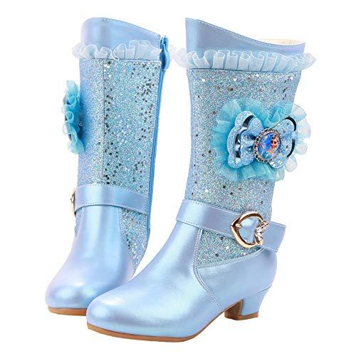 YOSICIL Botas de Tacn Alto Invierno Nieve con Forro Clido Lluvia Acogedor Botas De Princesa Elsa de Lentejuelas Botas Antideslizantes con Cremallera Zapatos Frozen Elsa 26-38 EU