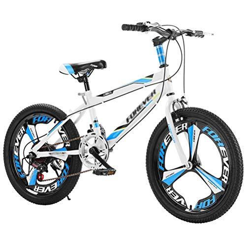 GOLDGOD Mountainbike Für Kinder, 7 Speed Controls MTB Fahrrad Mit Doppelter Stoßdämpfung Und Anti-Rutsch-Reifen Mountain Bike Mit Doppelbremsen Höhenverstellbare Griffe & Sitze,Blau,20 inch