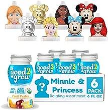 good2grow Organic Minnie and Disney Princess Rotating Character 6pk Low Sugar Fruit Fusion Juice, 6oz-Spill-proof Character Top Bottles, USDA Organic, Non-GMO, No Sugar Added Character Tops May Vary