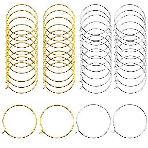 Baven 200 Stück Weinglas Charm Rings Wire Hoops Ohrringreifen für DIY-Schmuck, Weinglas Markierungen (30 * 25mm)
