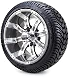 12' Gunmetal Tempest Golf Cart Wheels and Tires Combo Set of 4 with All Low Profile Tires
