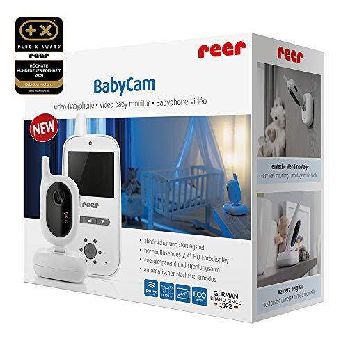 reer 80420 BabyCam Video Babyphone, 300 m Reichweite, 50 Grad Weitwinkel-Kamera, 2,4″ TFT Display, weiß - 2